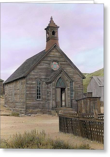 Bodie Church Greeting Card by Mel Felix