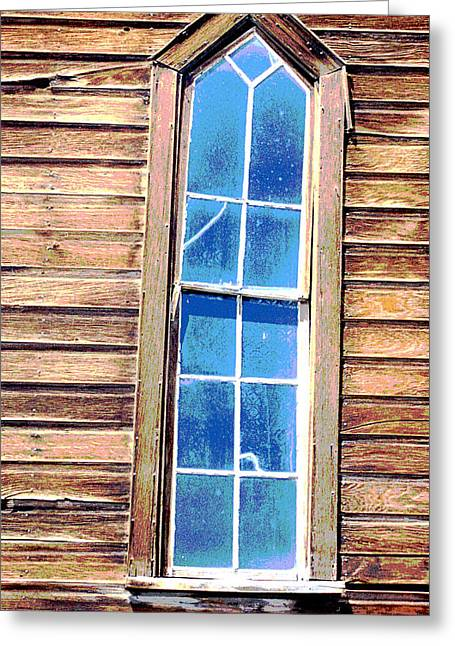 Greeting Card featuring the photograph Bodie Church Window by Mary Bedy