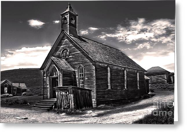 Bodie Ghost Town - Spooky Church Greeting Card by Gregory Dyer