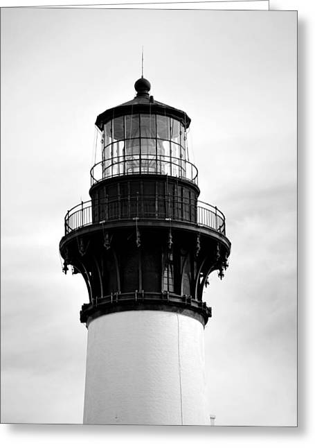 Greeting Card featuring the photograph Bodie Lighthouse Lens In Black And White by Bob Sample