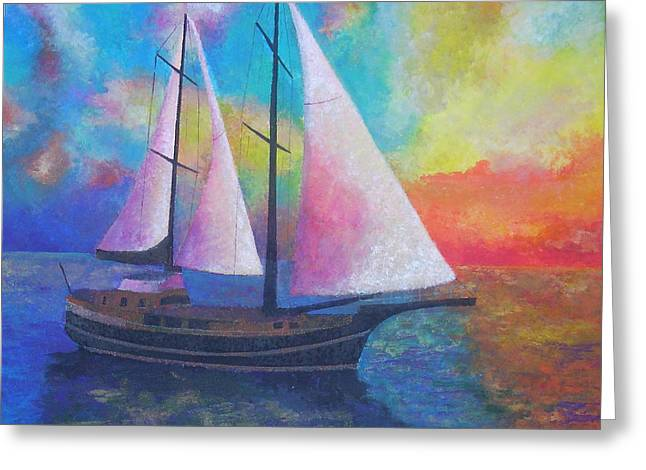 Greeting Card featuring the painting Bodrum Gulet Cruise by Tracey Harrington-Simpson