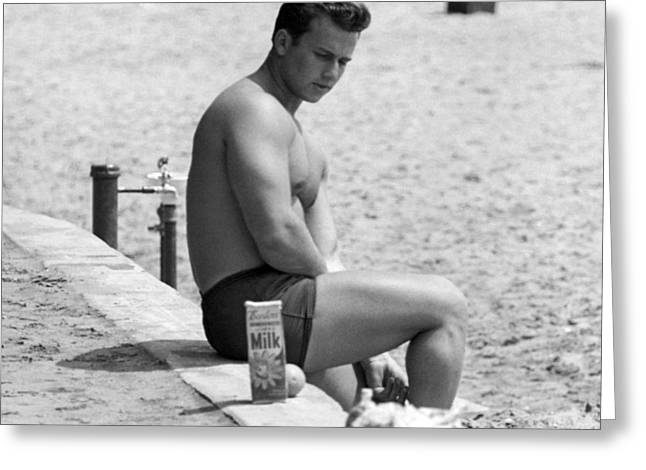Body Builder At The Beach. Greeting Card