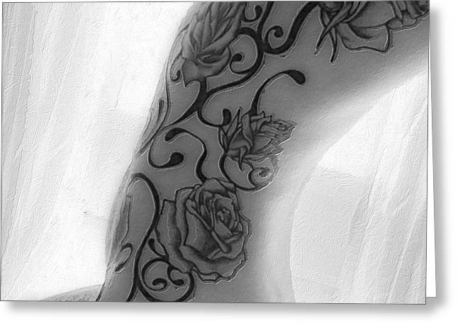 Body Tattoo Woman In Window B And W Greeting Card