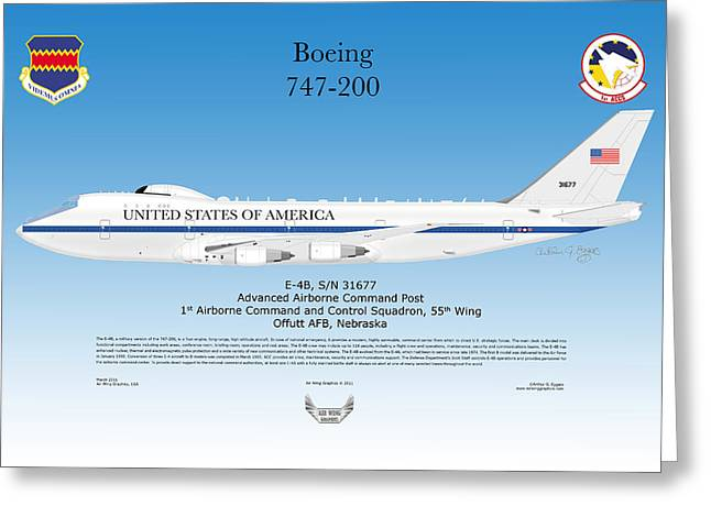 Boeing 747 200 E4b Greeting Card by Arthur Eggers