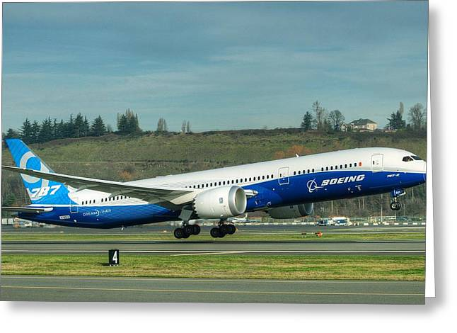 Boeing 787-9 Gets Airborne Greeting Card