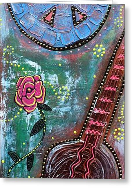 Bohemian Peace Guitar Greeting Card