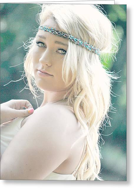 Bohemian River Girl Greeting Card by Chastity Hoff