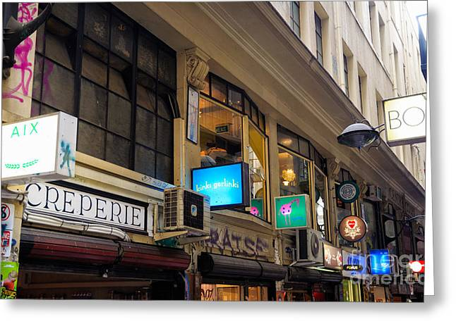 Bohemian Signs In The Atmospheric Laneways Of Melbourne Australia Greeting Card by David Hill