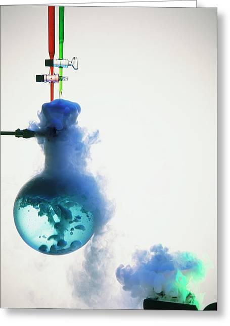 Boiling Blue Liquid In Flask Greeting Card by Dorling Kindersley/uig