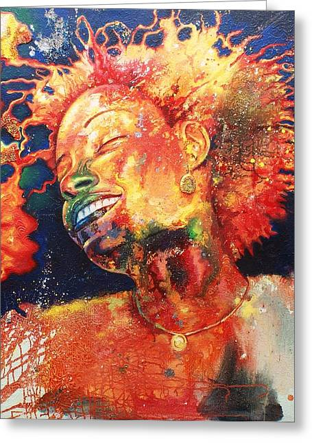 Boiling Flames Of Joy Greeting Card by Godwin Arikpo