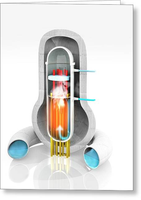 Boiling Water Nuclear Reactor Greeting Card by Ramon Andrade 3dciencia
