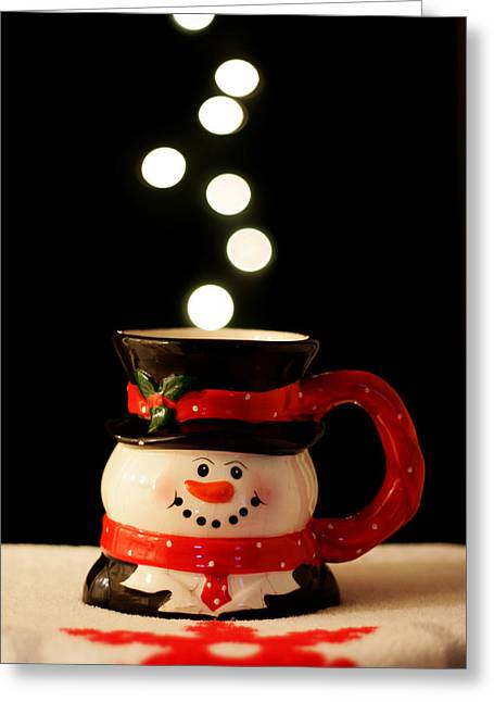 Greeting Card featuring the photograph Bokeh Fun With Snowman Mug by Barbara West