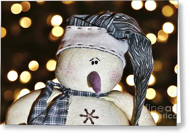 Bokeh Snowman Greeting Card