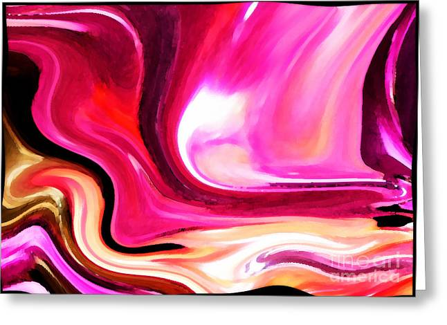 Bold Pink Abstract Greeting Card by Carol Groenen