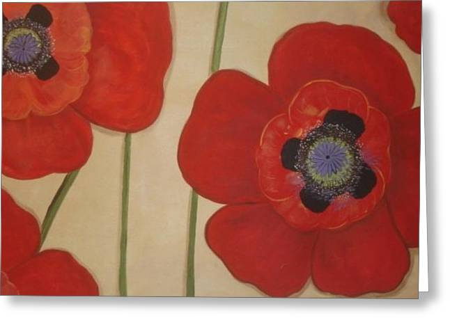 Greeting Card featuring the painting Bold Poppies by Cindy Micklos