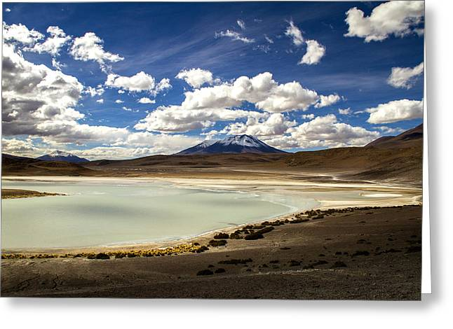 Bolivia Lagoon Clouds Greeting Card by For Ninety One Days