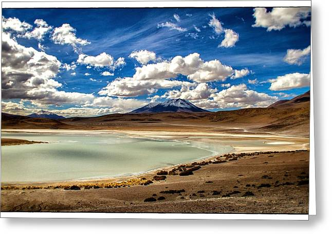 Bolivia Lagoon Clouds Framed Greeting Card by For Ninety One Days