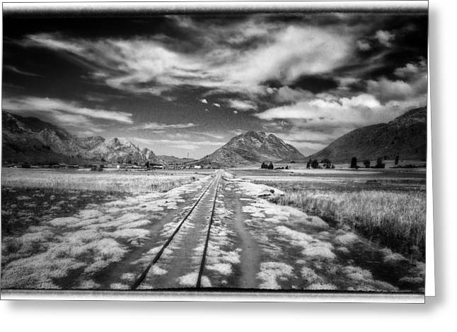Bolivia Train Tracks Black And White Greeting Card by For Ninety One Days