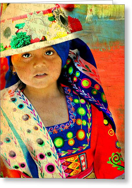 Bolivian Child Greeting Card by Diana Angstadt