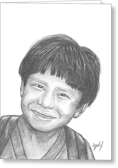Greeting Card featuring the drawing Bolivian Jungle Child by Lew Davis