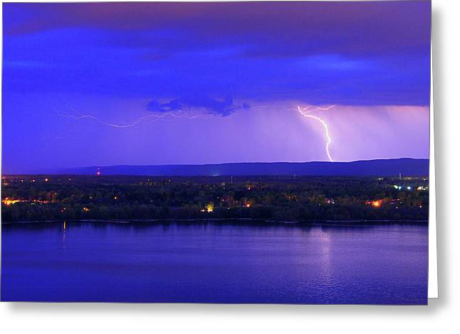 Bolt Over Gatineau Hills  Greeting Card