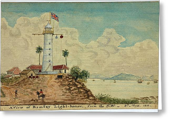 Bombay Lighthouse Greeting Card by British Library