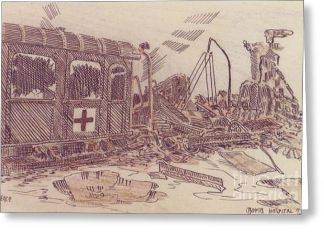 Bombed Hospital Train Ww II Greeting Card