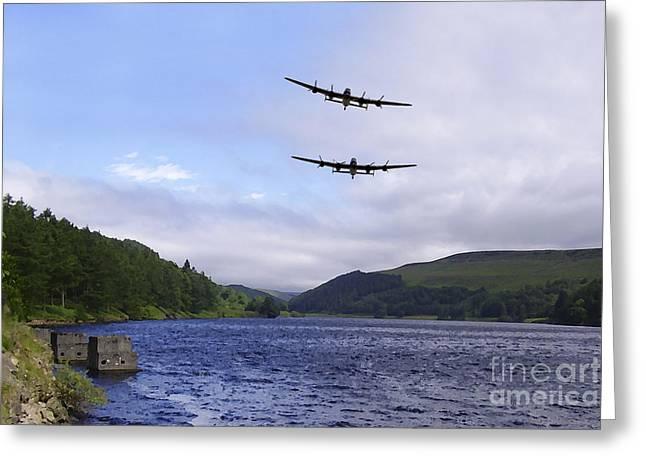 Bombers At The Dam  Greeting Card by J Biggadike