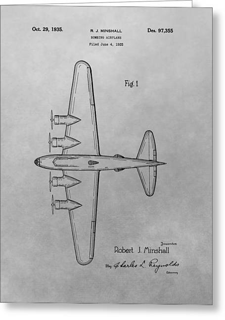 Bombing Aircraft Patent Drawing Greeting Card by Dan Sproul