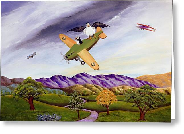 Greeting Card featuring the painting Bombs Away by Susan Culver