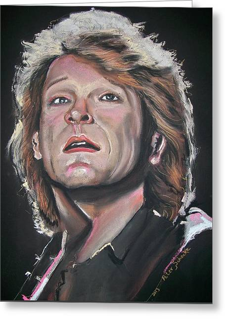 Greeting Card featuring the pastel Bon Jovi by Peter Suhocke