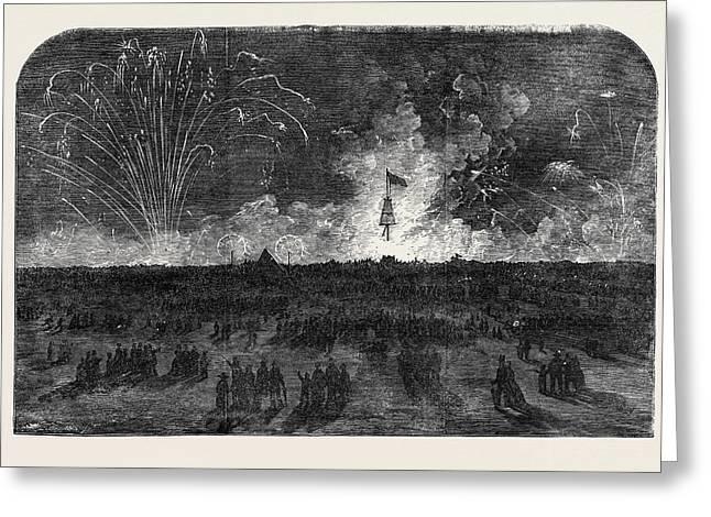 Bonfire And Fireworks On Blackheath Greeting Card