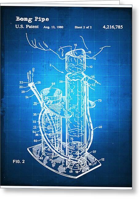 Bong Patent Blueprint Drawing Greeting Card by Tony Rubino