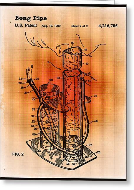 Bong Patent Blueprint Drawings Sepia Greeting Card by Tony Rubino