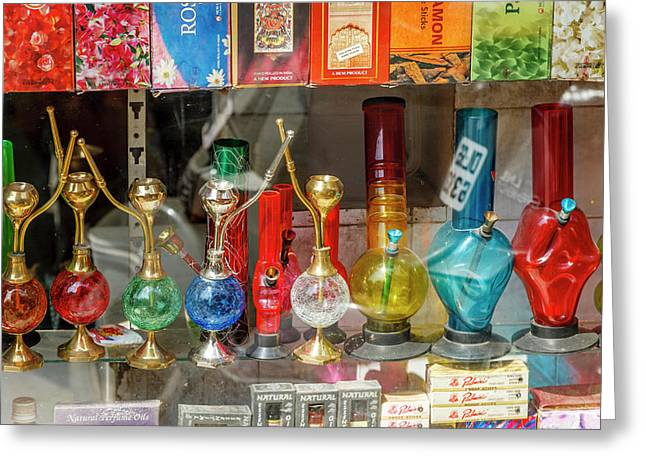 Bongs, New Delhi, India Greeting Card by Ali Kabas