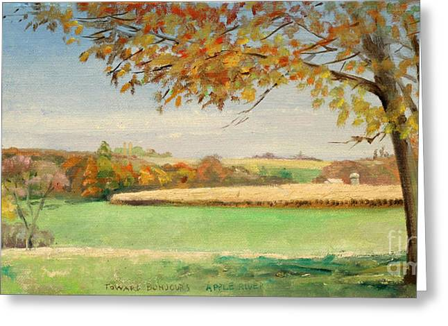 Bonjour Lands In Apple River Jo Daviess County Greeting Card by Art By Tolpo Collection