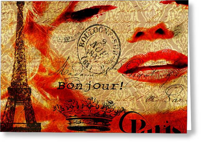 Bonjour Marilyn Greeting Card by Greg Sharpe