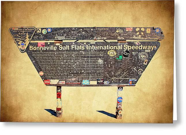 Bonneville Salt Flats Sign Greeting Card by Steve McKinzie