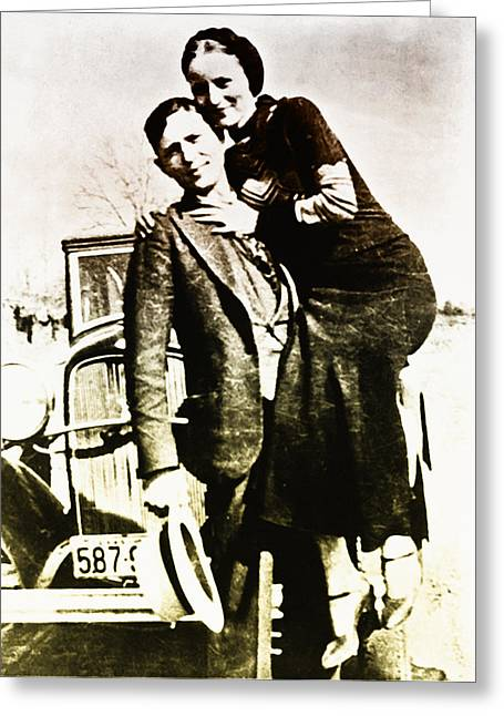 Bonnie And Clyde Greeting Card by Bill Cannon