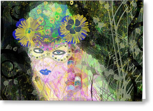 Greeting Card featuring the mixed media Bonnie Blue by Kim Prowse