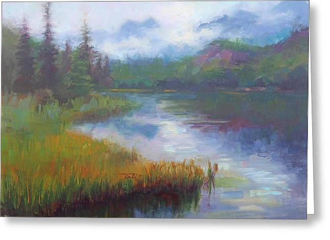 Bonnie Lake - Alaska Misty Landscape Greeting Card by Talya Johnson