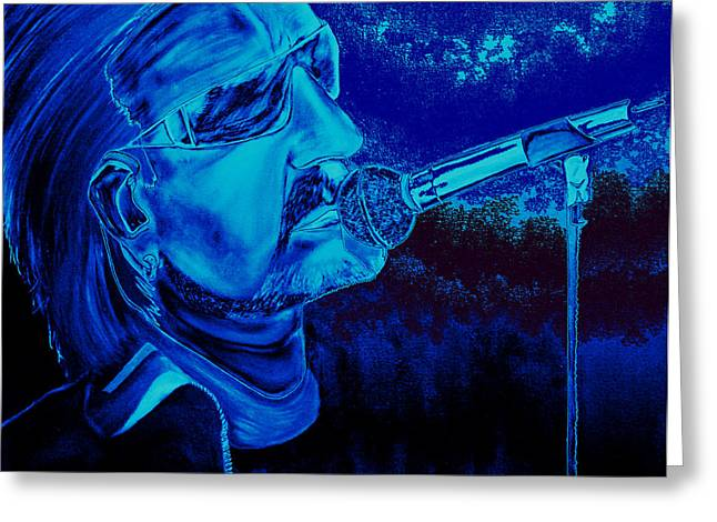 Bono In Blue Greeting Card by Colin O neill