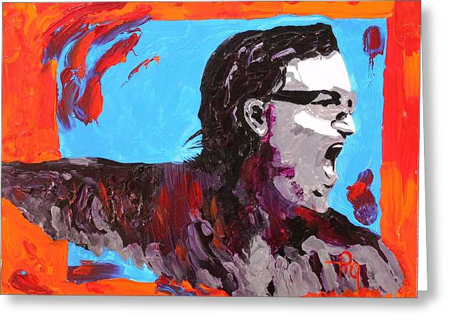 Bono Greeting Card by Michael Greeley