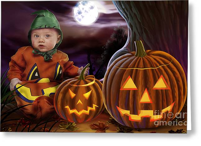 Boo Baby Pumpkins Greeting Card by Bedros Awak