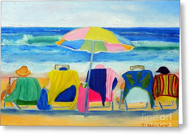 Book Club On The Beach Greeting Card by Shelia Kempf