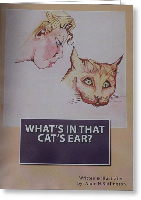 Book Cover For Whats In That Cats Ear A Children's Book  Greeting Card