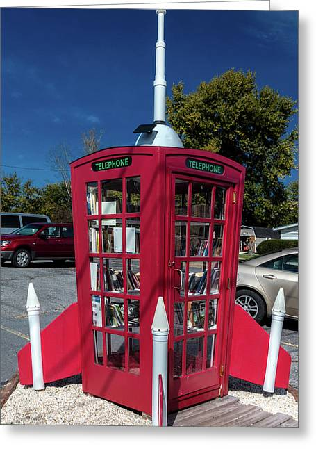 Book Drop In Red Phone Booth Greeting Card