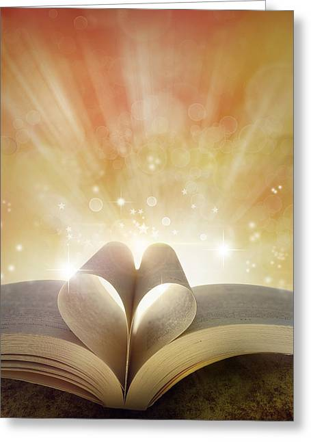 Book Love Greeting Card by Les Cunliffe