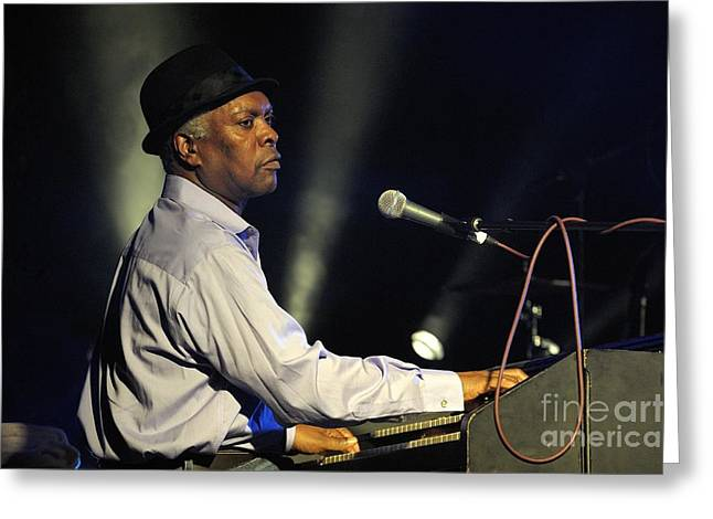 Booker T Jones Us Blues Singer Plays Hammond B3 Organ At Maryport Blues Festival 2010 England Greeting Card
