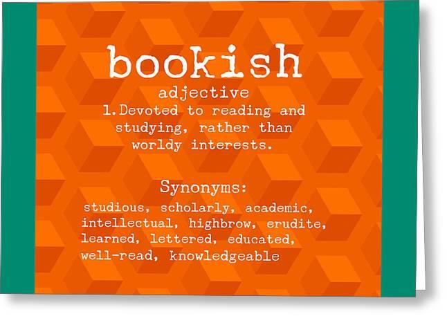 Bookish Greeting Card by Bonnie Bruno